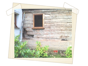 Celkový pohled na ložisko napadení Dřevomorkou v rohu roubení