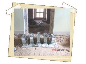 Práce mikrovlnami na klenbách po odtěžení zásypu